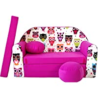Preisvergleich für PRO COSMO H17Kinder Sofa Bett mit Puff/Fußbank/Kissen, Stoff, pink, 168x 98x 60cm
