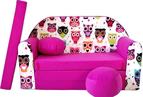 PRO COSMO H17Kinder Sofa Bett mit Puff/Fußbank/Kissen, Stoff, pink, 168x 98x 60cm