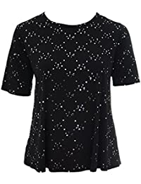 The Home of Fashion Plus Size Black Sequin Sparkly Detail Round Neck Party Top
