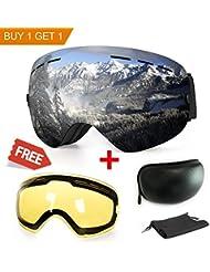 Gafas de esquí, anti-fog protección UV gafas de deportes de invierno nieve Snowboard con intercambiables esférica lente doble para hombres mujeres y jóvenes nieve esquí patinaje, Black Frame