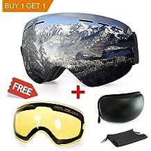 WLZP Gafas de esquí antiniebla con protección UV para Snowboard, esquí, Skating y Otros