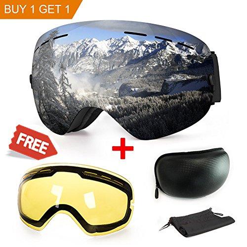 Masque de ski ou snowboard avec traitement anti-buée et protection anti-UV - Verres sphériques doubles interchangeables - Pour hommes, femmes et enfants, Sil