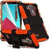 ONX3® ( Orange ) LG G4 Case Custom Made Tough Survivor Fest Rugged Shock Proof Heavy Duty Case W / Back-Standplatz, ausgeglichenes Glas-LCD-Display Schutzfolie, Poliertuch und Mini-versenkbaren Stylus Pen