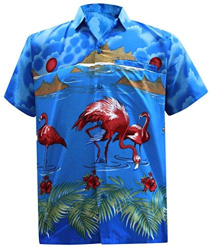 *La Leela* Shirt Camicia Hawaiana Uomo XS - 5XL Manica Corta Hawaii Tasca-Frontale Stampa Hawaiano Casuale Regular Fit Blu666 L