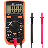 FlePow; MS8233D Auto-Ranging Multimeter Electronic Measuring Instrument AC//DC Current/&Voltage Detector Portable Amp//Volt//Ohm Tester with LCD Display Digital Multimeter
