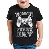 style3 Gamer Workout Homme T-Shirt pour enfants play sport station console de ps jeu vidéo, Couleur:Noir;Taille:164