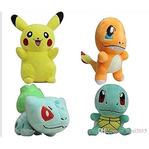POKEMON - LOTE 4 PELUCHES 15CM BULBASAUR & CHARMANDER & SQUIRTLE& Pikachu -