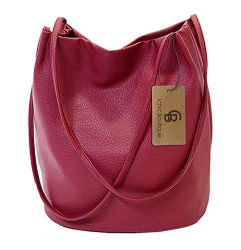Eimer Tasche Damen Handtasche Leder Schultertasche Umhängetaschen Beutel,Dunkelrot (Tasche Handtasche Eimer)