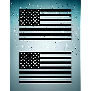 Akacha Aufkleber, Sticker, für Auto, Motorrad, USA-Flagge, Schwarz, 2Stück