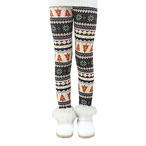 Allouli Kid Pants Winter Autumn Thick Warm Leggings Floral Girls Pants Trouser (Cropped Tights)
