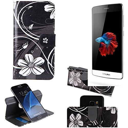 TP-LINK Neffos C5 360° Wallet Case Schutz Hülle ''Flowers'' | Smartphone Flip cover Flipstyle Tasche Standfunktion innovativer Kameraschutz - K-S-Trade (TM)