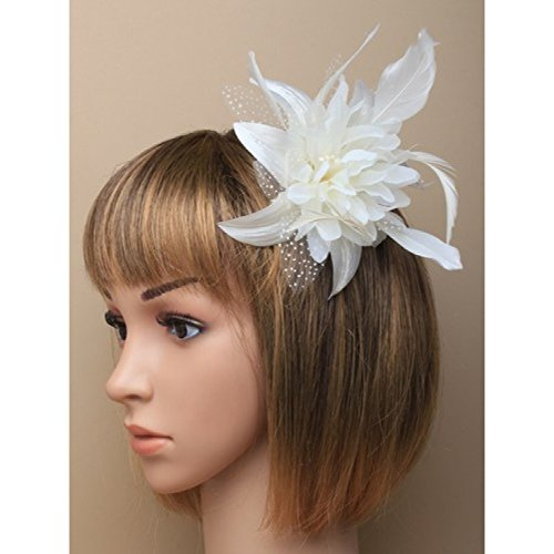 Cream chiffon flower & feather fascinator on comb. Perfect for weddings, races or other special ()