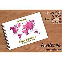 Guestbook matrimonio - libro dediche e auguri invitati personalizzato mappamondo cartina tema viaggio disponibile in tutti i colori