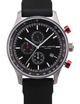 Lars Larsen 133SBBS Analoge Quarzuhr für Herren, mit schwarzem Zifferblatt und schwarzem Uhrband aus Silikon