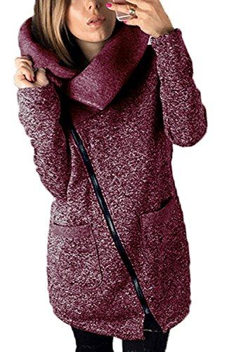 Le Donne Di Taglia La Cerniera Della Outwear Giacche, Cappotti Occasionale Giacconi Con Le Tasche Purple