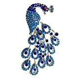 FURE B-Fashionable Blue Radiant Metal Peacock Brooch for Men and Women