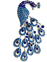 B-Fashionable Radiant Metal Peacock Brooch For Unisex (Blue)