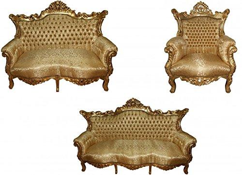 Casa Padrino Barock Wohnzimmer Set Master Gold Muster/Gold - 3er Sofa+2er Sofa + 1 Sessel