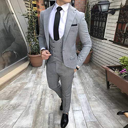 GFRBJK 2019 Grau Maßgeschneiderte Hochzeitsanzüge Für Männer Revers Slim Fit 3 Stück (Jacke + Weste + Hose) Hochzeit Bräutigam Prom Smoking XXL