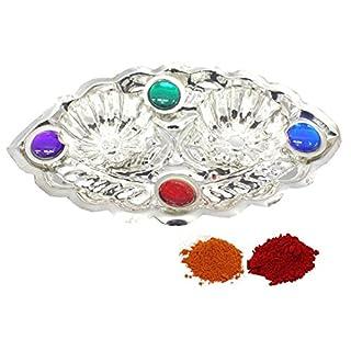 Amba Handicraft Indische Traditionelle Deko Pooja Thali, schöne Lakshmi Festival ethnische Geschenk für Sie/Kankavati / Diwali/indisches Kunsthandwerk/Zuhause / Tempel/Büro / Hochzeit Geschenk GS17