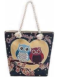 Pattern D : Malloom Cute Women Owl Printed Tote Bags Women Shoulder Bag Handbags Shopping Bag (Pattern D)