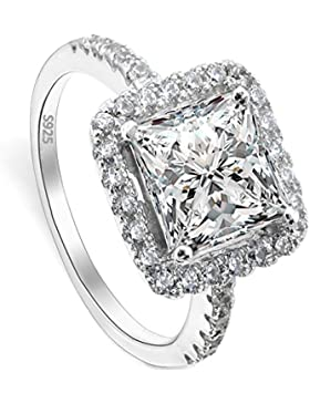 EVER FAITH® 925 Sterling Silber Princess Cut klassisch CZ Engagement Ring