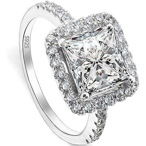 EVER FAITH® 925 argento sterling principessa Cut .79ct classica CZ anello di fidanzamento Clear