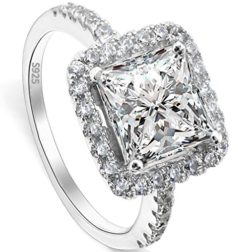 EVER FAITH® 925 Sterling Silber Princess Cut klassisch CZ Engagement Ring - Größe 56 (17.8) N06645-3