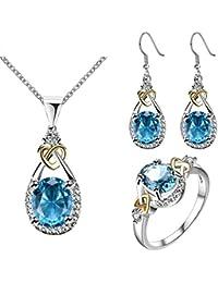MagiDeal Lujo Azul Cristal Zircon Collar Pendientes Anillo de Boda Joyería de Nupcial Set Bueno Regalo para Mujeres