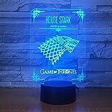 RMRM Luz Nocturna 3D House Stark Juego De Tronos Lobo Acrílico Lámpara Led 3D 7 Cambio De Color Acrílico D Luz Nocturna Decoración Para Niños Regalo De Navidad