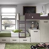 Meubles ROS Lit superposé avec Bureau Amovible, Armoire et 3 tiroirs -...