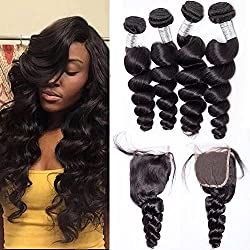 Maxine Human Hair Bundles with Closure Loose Wave with Free Part 4x4 Closure Peruvian Virgin Hair Closure with 3Bundles Full and Thick Lace Closure with Bleached Knots Natural Color(16 18 20+14 Inch Free Part)