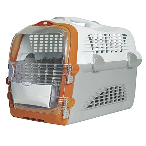 katzeninfo24.de Catiti Pet Cargo Cabrio, Transportbox, weiß-grau-orange