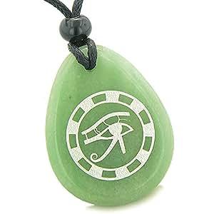 Amulette tous les voir Yeux d'Horus Antique Collier Pendentif Quartz Vert