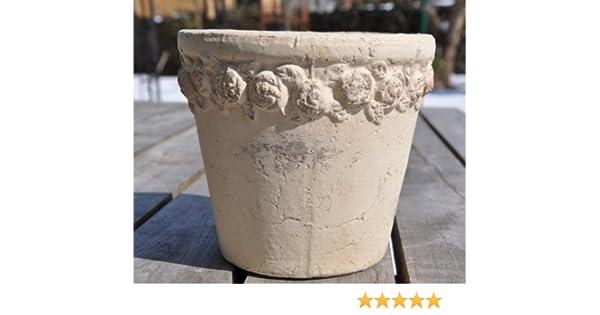 Pflanztopf Höhe: 18cm Zementtopf grau Übertopf antikgrau Blumentopf Rosenrand