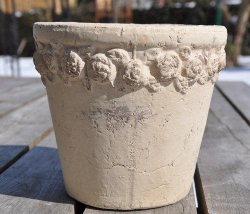 KUHEIGA Pflanztopf mit Rosen, Creme/Grau antik, Blumentopf, Terrakotta, Rose