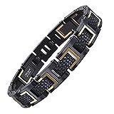 COOLMAN Herren Armband Edelstahl Armbänder für Männer Größe Einstellbar 20-22 cm, Rennlegende-Serie, Gold Schwarz