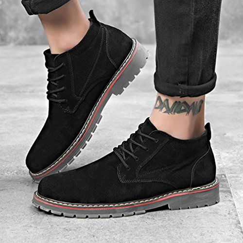 Anguang Hommes Lacer Bottes Entreprise Bureau Décontractée Robe Cheville Chaussures Noir 1