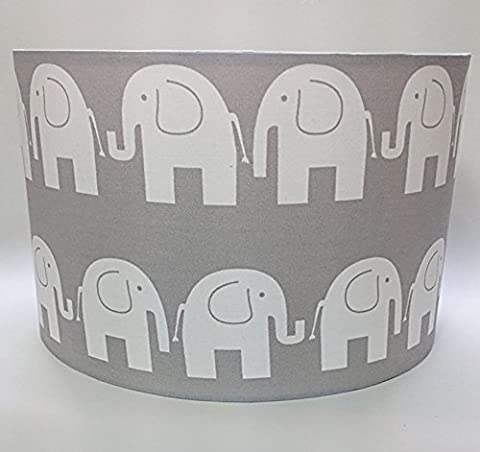 Grey Elephant, Large Fabric Light Shade, Children's Nursery Lighting