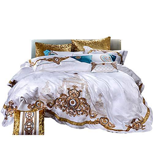 JR%L High-end Europäische Bett Wrap, Präzisions- Baumwollsatin Reinweiß 10 Stück Tagesdecke Bett Gold Stickerei Allergiker-a Queen1 - Gold Stickerei Kissenbezug