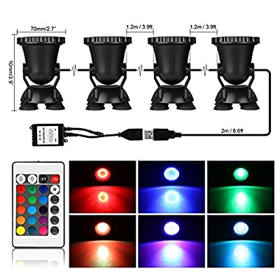 Remote Control RGB LED Pond Spotlight Underwater Aquarium Fish Tank Lighting AC100-240V UK Plug