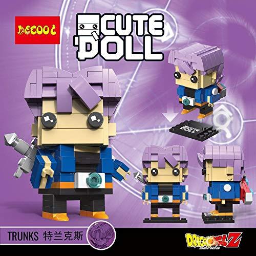 CuteDoll Figura de Trunks Trunk Dragonball Dragon Ball Puzzle Juego Bloques de construccion tamaño 9 cm DIY Mini Building Puzzle Juguete niños colección