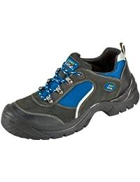 """S1 """"Göhren"""" - Zapato de Seguridad con Aspecto de Deportiva de Piel de Gamuza con Tapa de Acero con Suela Antideslizante PUR - negro / azul, 39"""