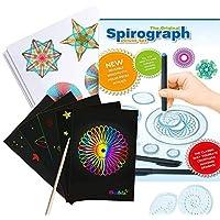 Harxin Spirograph Deluxe Design Set con Papel Rayado Arcoíris, Juegode Guía y Lápiz Juego de Arte en Dibujo para Adultos y Niños (Spirograph de Juguetes)
