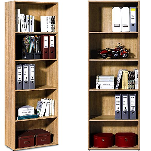 Standregal Bücherregal Wandregal Aufbewahrungsregal Holz Regal 5 Fächer Typ 3 - Farbe eiche - 3 Regal 5 Regal Bücherregal