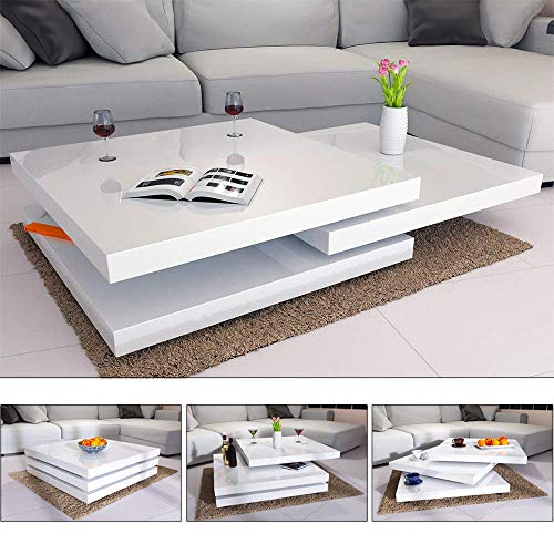Deuba Couchtisch Hochglanz Weiß 360° Drehbar Cube Design Modern 80x80cm Wohnzimmertisch Lounge Tisch Sofatisch