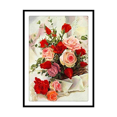 (Luoxxxka 5D Diamant Gemälde Stickerei Rose Blume DIY Strass Kreuz Crafts Stitch Kit Decor Art)
