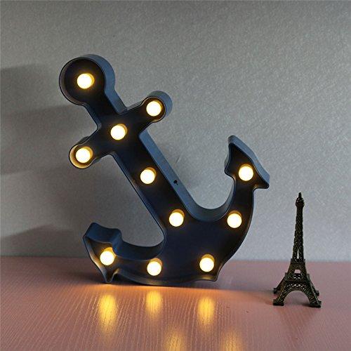 (Anker Blau 11 LED-Festzelt Zeichen LEUCHTEN Vintage Kunststoff Nacht Licht Wandleuchten Indoor Bezugsraum)