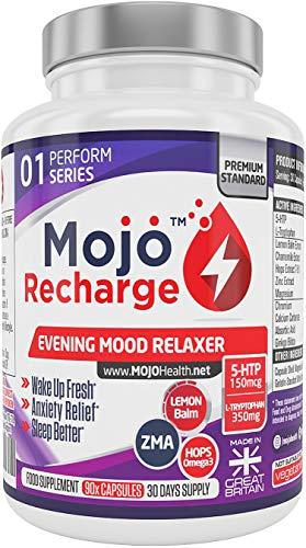 Natürliche Angst Medikamente (MOJO RECHARGE - 5HTP Schlafmittel Nootropic Serotonin Brain Anxiety Mood Supplement Schlaf Schlafstörungen L-Tryptophan ZMA Omega-3)