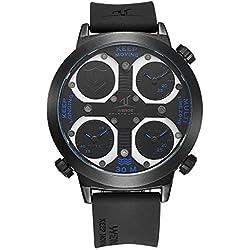 Alienwork Sport Quartz Watch Multi Time Zones Wristwatch XXL Oversized Polyurethane black black OS.UV1503-3